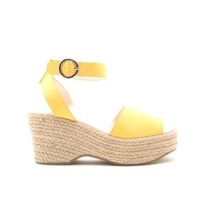 Qupid Logan Yellow Ankle Strap Wedges 8